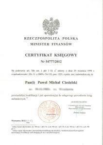 dyplom szkolenia księgowego