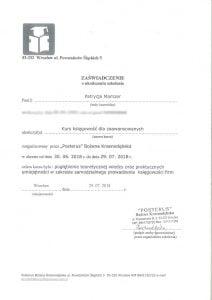 certyfikat - księgowość dla zaawansowanych