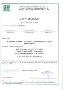 certyfikat z kursu - księgowość w spółce z o.o. spółce komandytowej