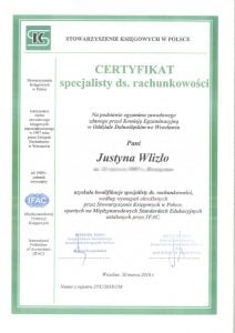 dyplom kursu - specjalista ds rachunkowości