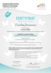 certyfikat kurs kadry